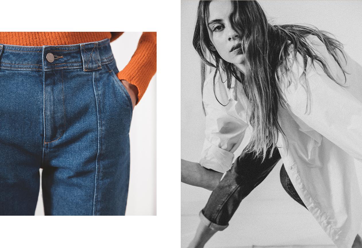 Jean femme carotte bleu workwear
